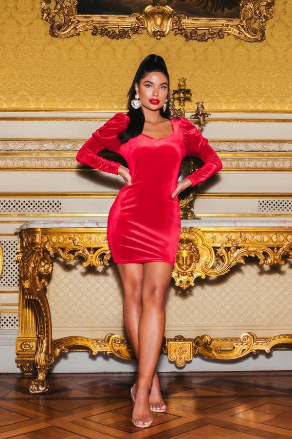 Petite Red Velvet Puff Sleeve Bodycon Dress