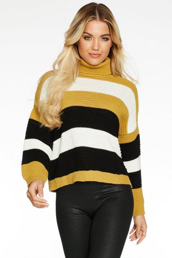 Mustard Cream and Black Stripe Knit Roll Neck Jumper