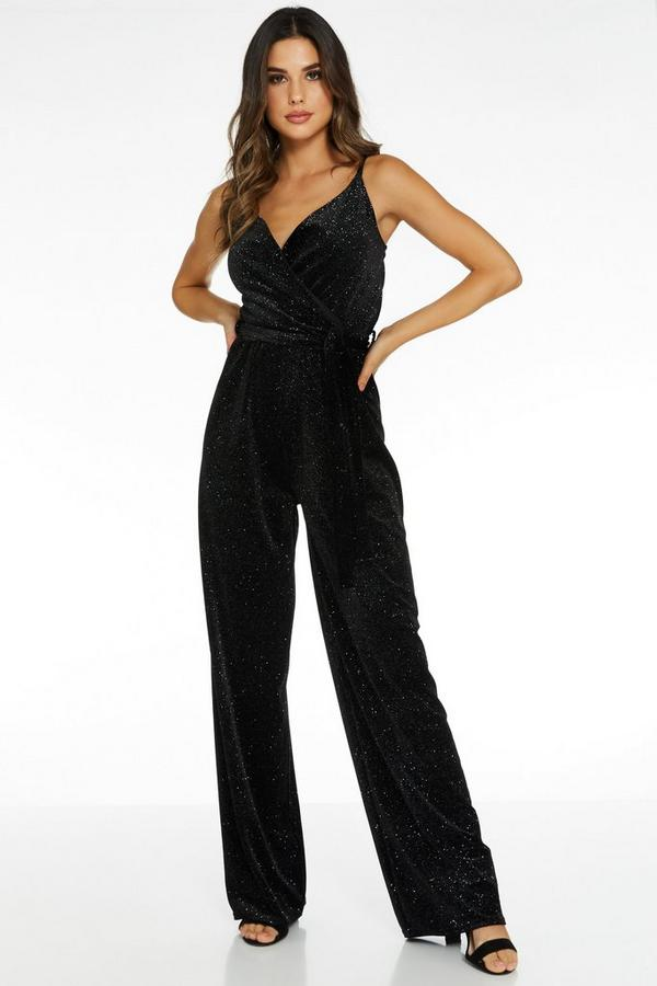 Black Velvet Glitter Wrap Palazzo Jumpsuit