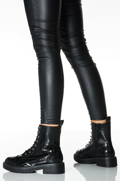 Black Crocodile Effect Lace Up Chunky Hiker Boots