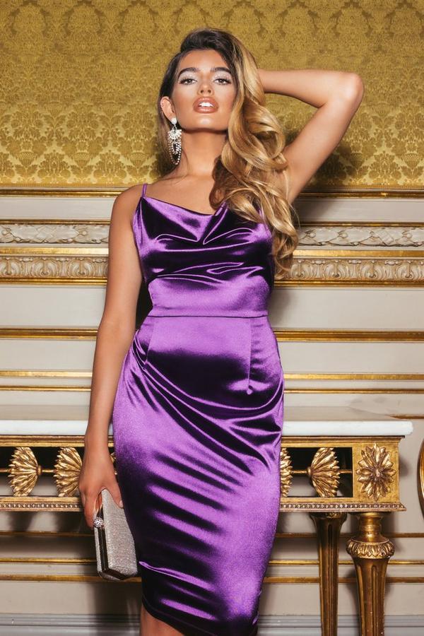 Sam Faiers Purple Satin Cowl Neck Bodycon Midi Dress