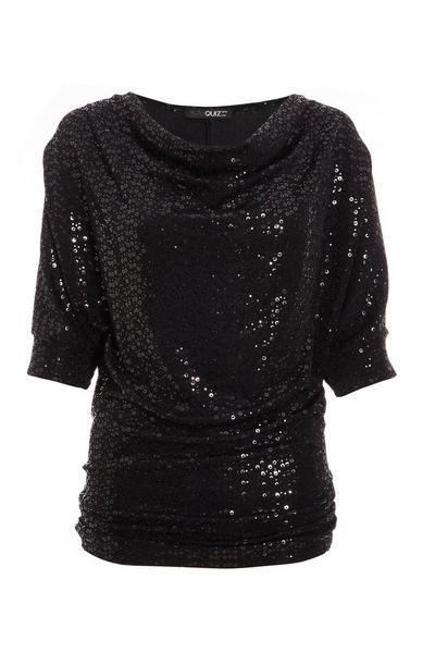 Black Glitter Cowl Neck Top