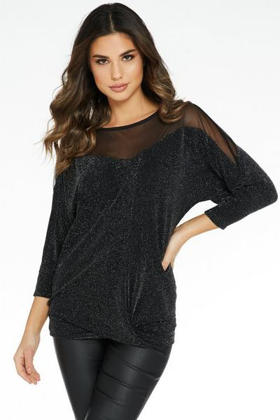 Black and Silver Shimmer Knot Front Top
