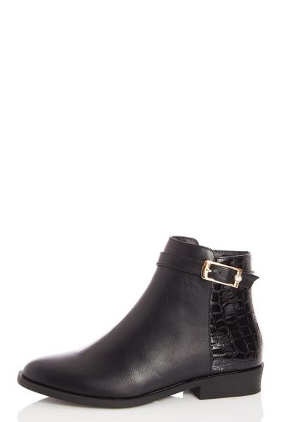 Black Faux Leather Buckle Detail Ankle Boots