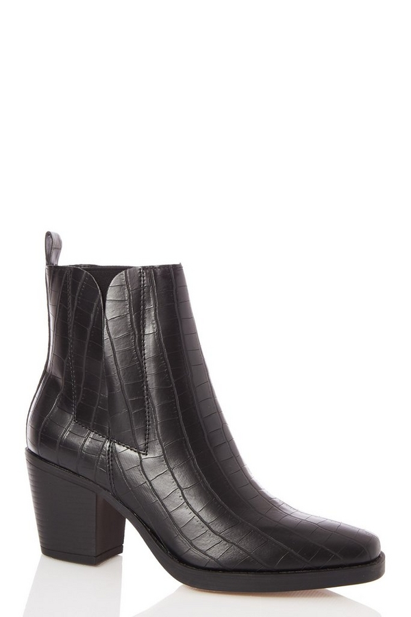Black Crocodile Effect Square Toe Ankle Boot