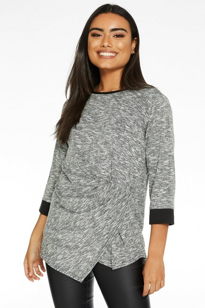 Grey and Black Light Knit Round Neck Top