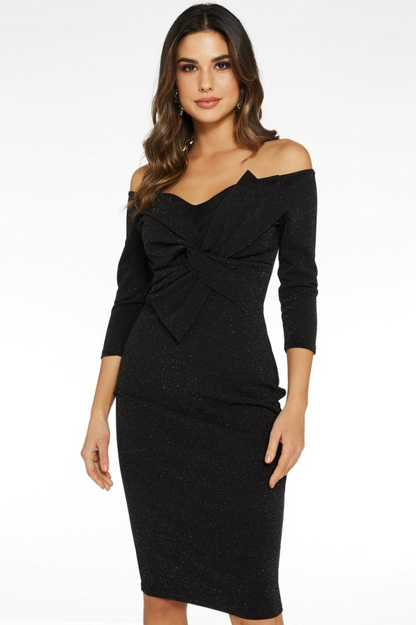 Black Glitter Bow Front Midi Dress
