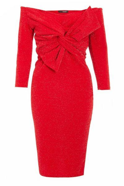 Red Glitter Bow Front Midi Dress