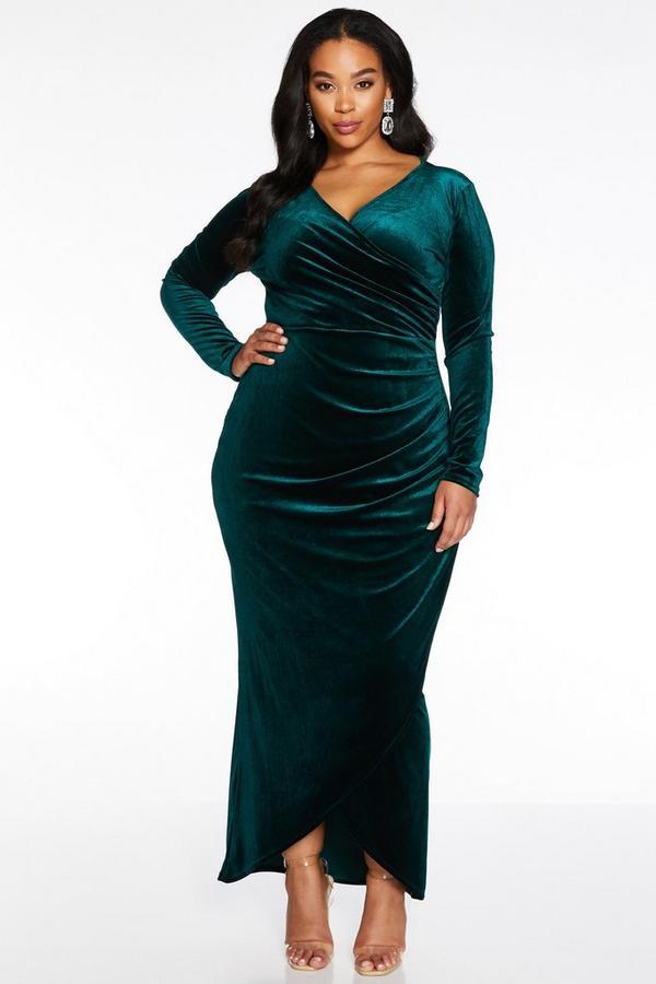 Curve Bottle Green Velvet Wrap Long Sleeve Maxi Dress