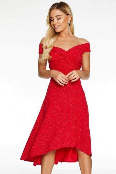 Red Bardot Knot Front Glitter Dip Hem Dress