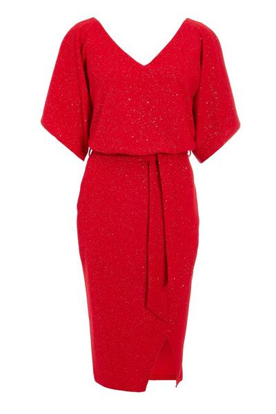 Red Glitter V Neck Batwing Midi Dress