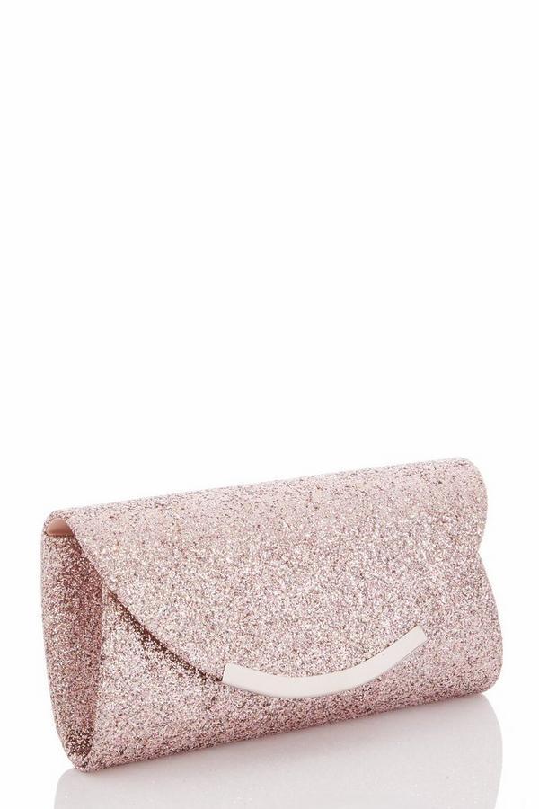 Pink Glitter Clutch Bag