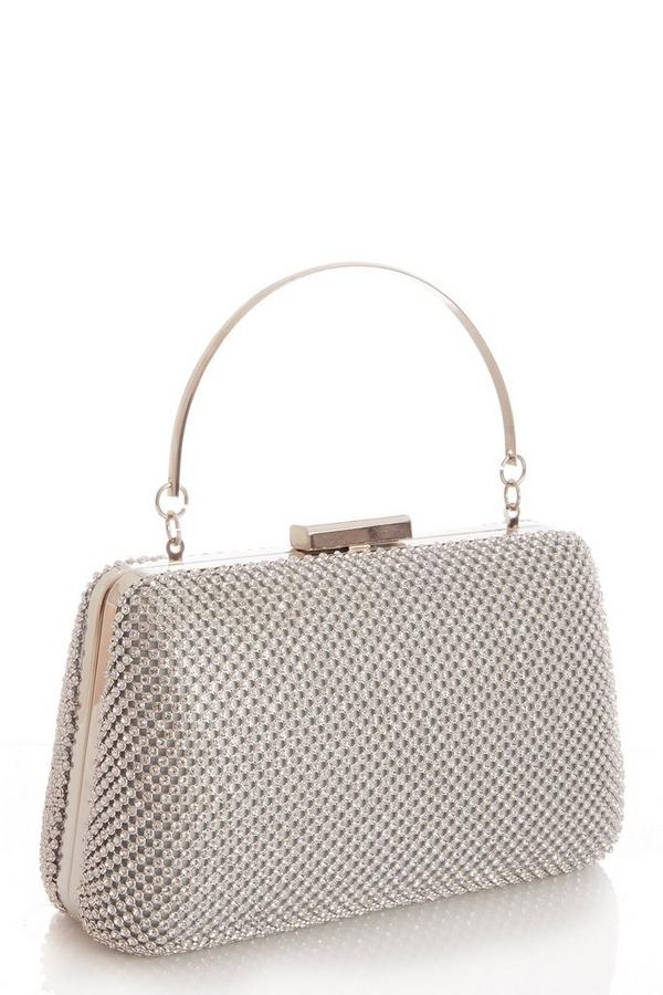 Silver Diamante Handle Box Bag