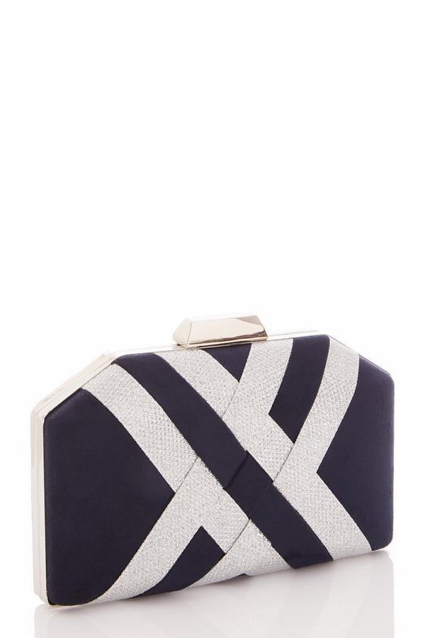 Navy Faux Suede Box Bag