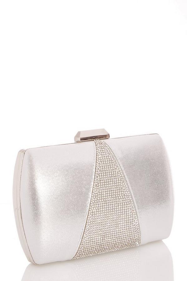 Silver Diamante Shimmer Box Bag