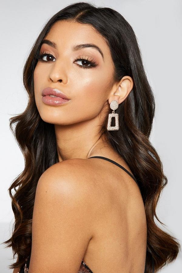 Rose Gold Diamante Rectangle Earrings