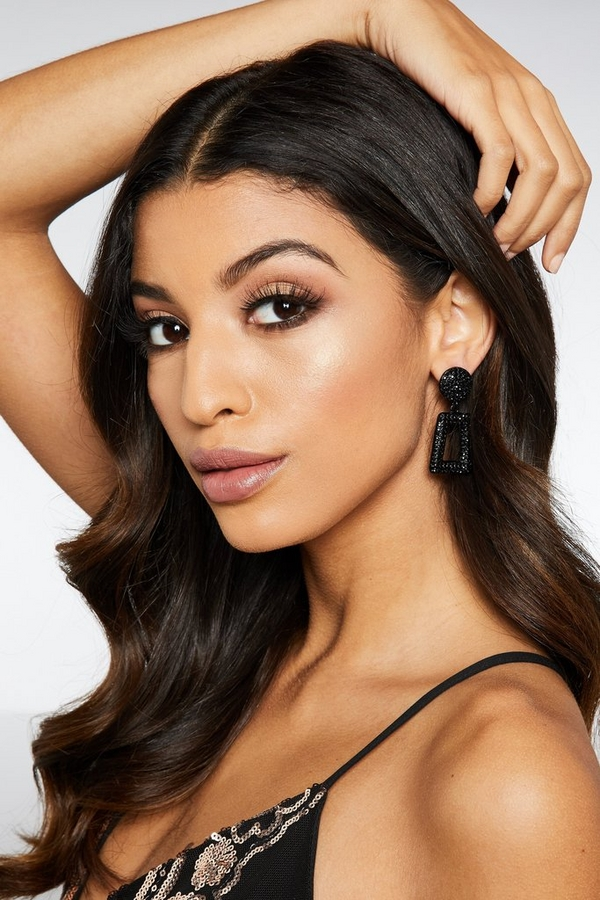 Black Diamante Rectangle Earrings