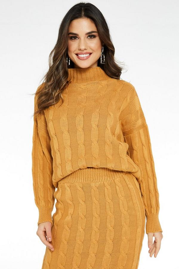 Camel Cable Knit Turtle Neck Jumper