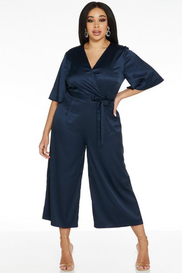 Curve Navy Satin Wrap Front Culotte Jumpsuit