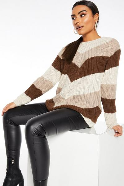 Beige Knitted Long Sleeve Jumper