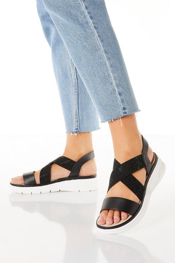 Comfort Black Diamante Strap Sandals