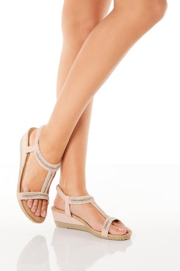 Comfort Pink Diamante T-Bar Wedges