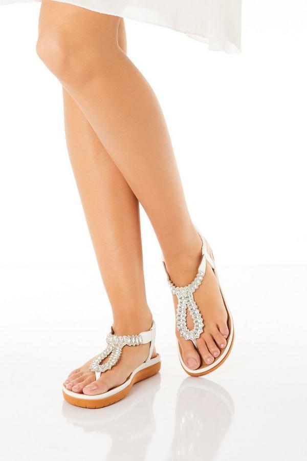 Comfort White Jewel T- Bar Flat Sandals