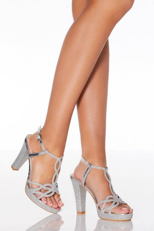 Silver Glitter Twist High Heel Sandals