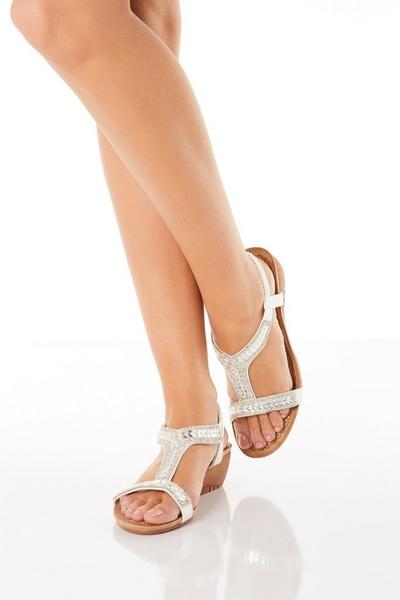 White Diamante T Bar Wedge Sandals