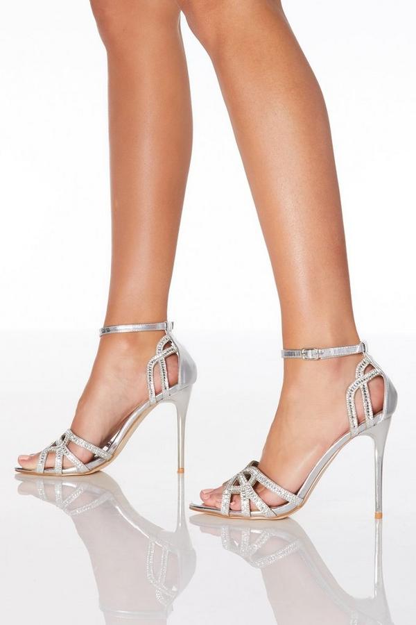 Silver Diamante Strap Heeled Sandals