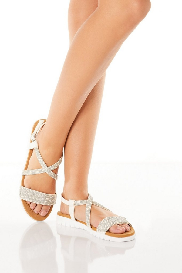 Comfort White Diamante Cross Strap Sandals