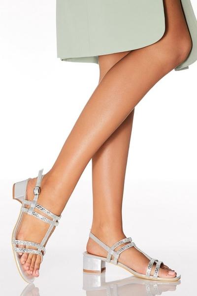 Silver Diamante T Bar Heeled Sandals