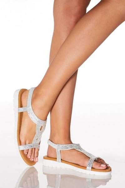Comfort Silver Shimmer Loop Flat Sandals