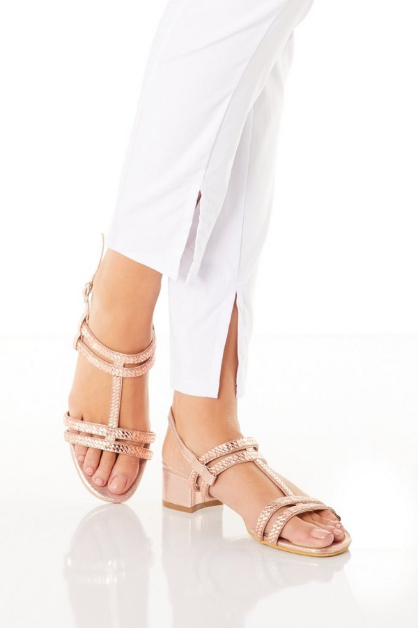 Rose Gold Diamante T Bar Heeled Sandals