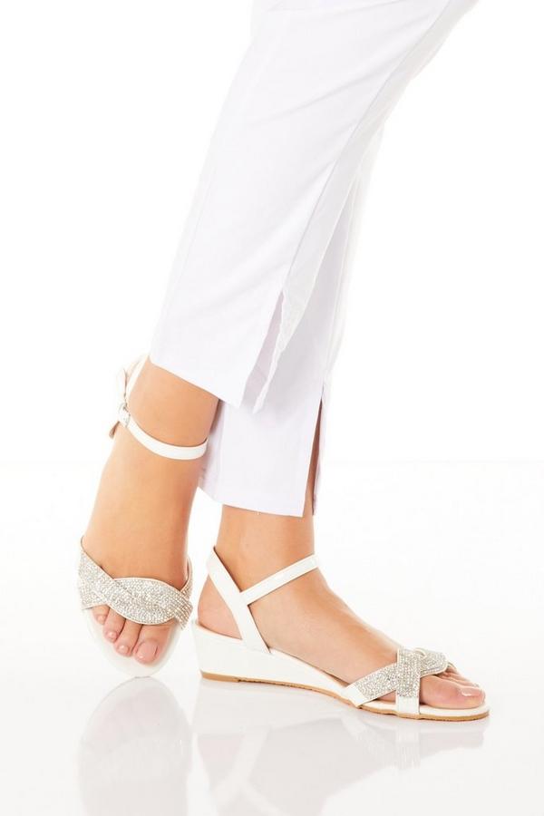 White Diamante Twist Wedge Sandals
