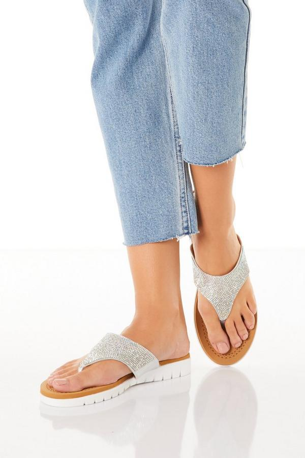 Comfort Silver Diamante Flip Flops