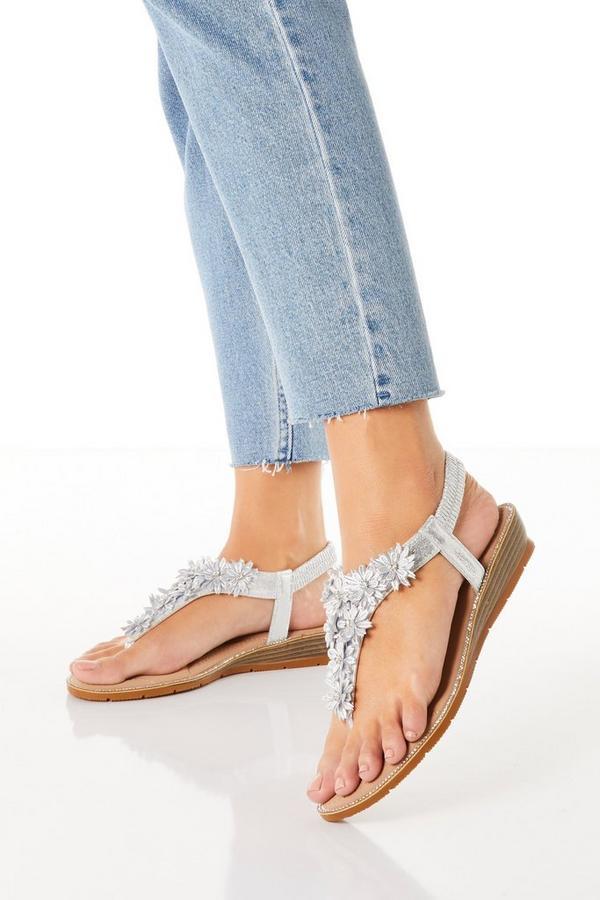 Comfort Silver Flower Low Wedge Sandals