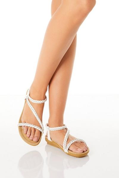 Comfort White Diamante Flat Sandals