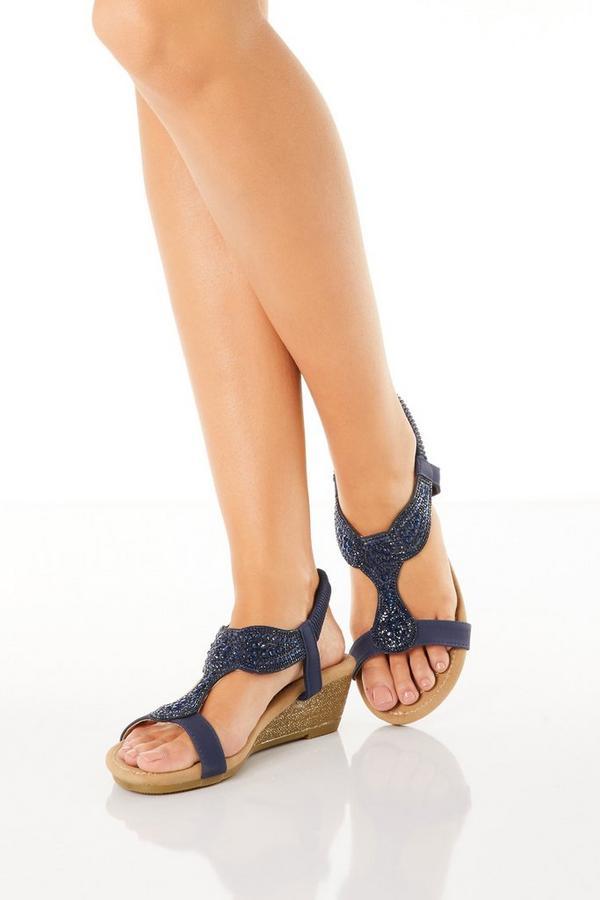 Comfort Navy Jewel Wedge Sandals