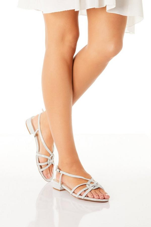 Silver Shimmer Low Heeled Sandals