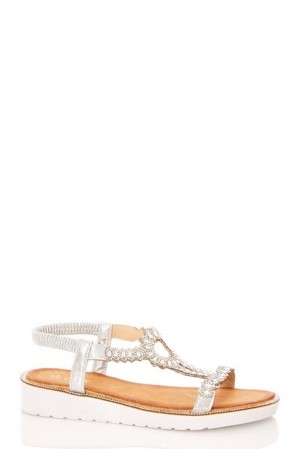 Comfort Silver Jewel Flat Sandals