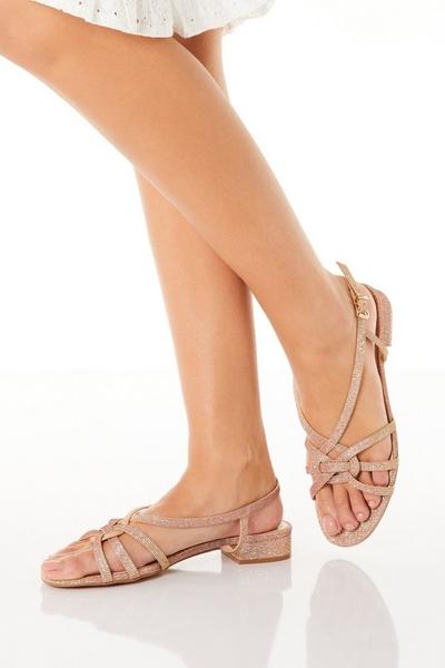 Rose Gold Shimmer Low Heeled Sandals