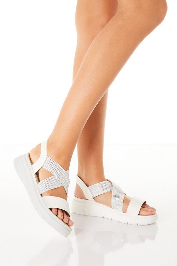 Comfort White Diamante Strap Sandals