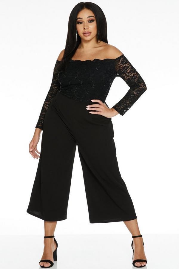 Curve Black Lace Bardot Culotte Jumpsuit