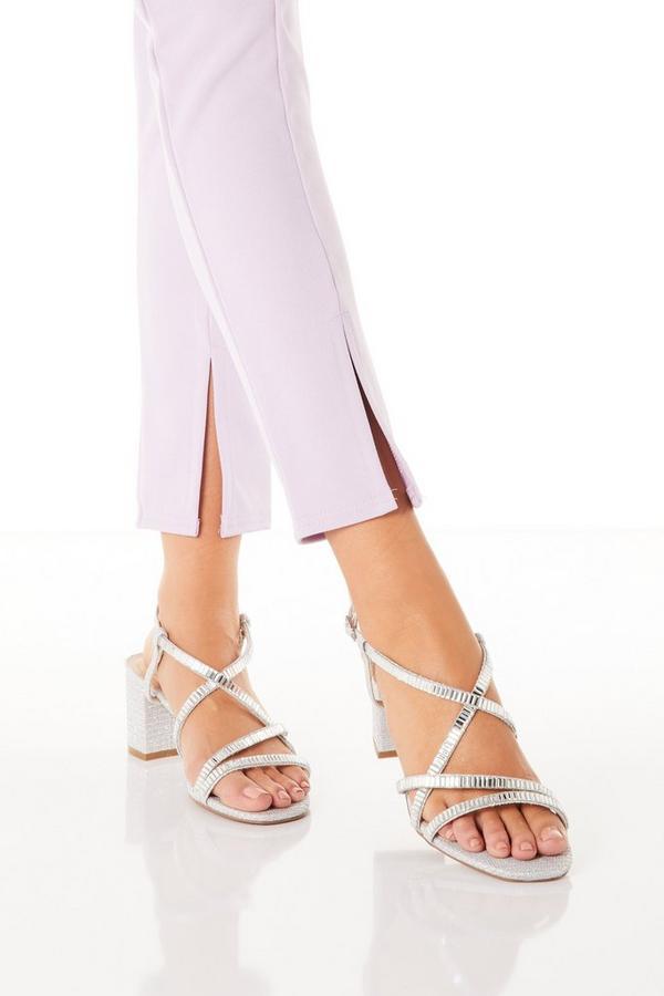 Silver Diamante Block Heeled Sandals