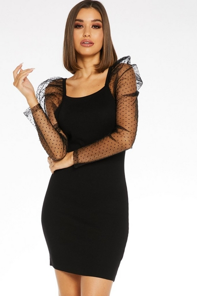 Black Knitted Puff Sleeve Dress