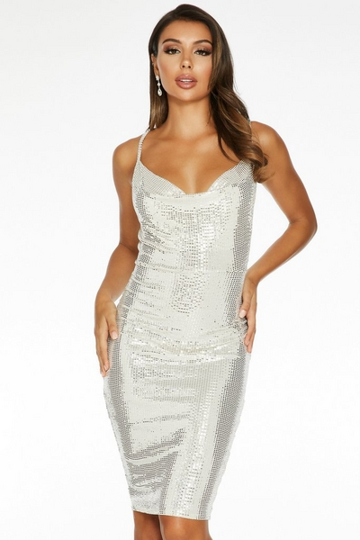 Stone Sequin Cowl Neck Midi dress