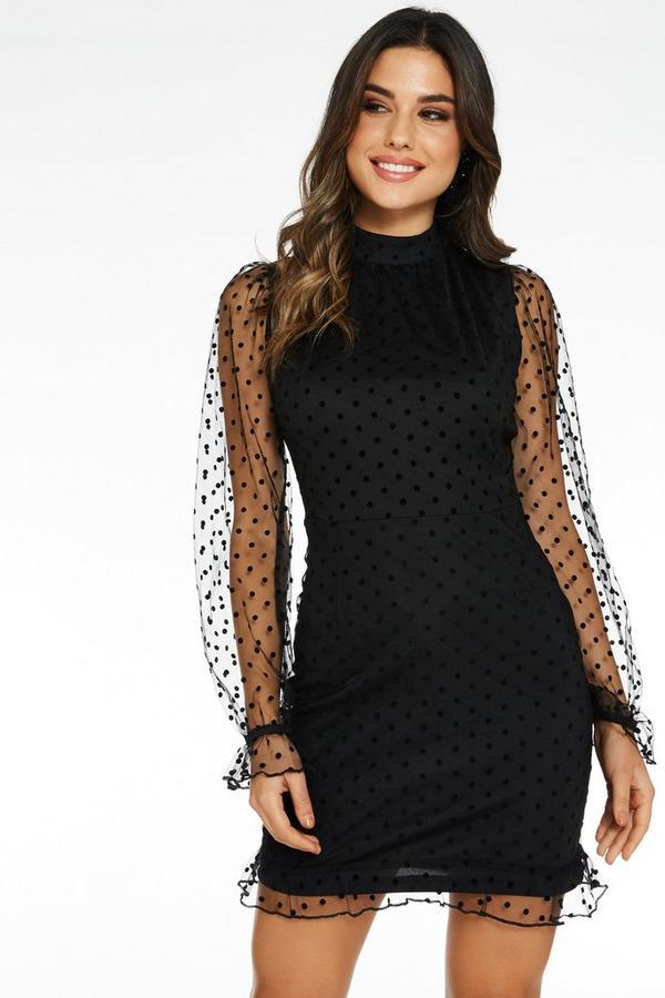 Black Polka Dot Bodycon Dress