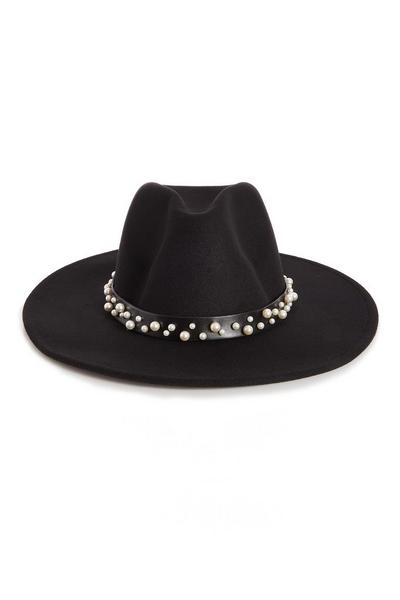 Black Faux Pearl Trim Fedora Hat
