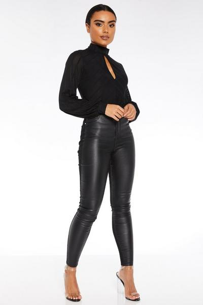 Black Faux Leather Denim Skinny Jeans